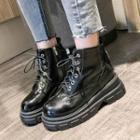 Platform Faux Leather Short Boots