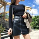 Faux-leather Zip Skirt