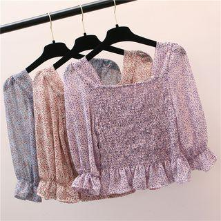 3/4-sleeve Floral Chiffon Cropped Top