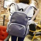 Contrast Trim Faux Leather Backpack