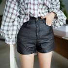 High-rise Coated Shorts