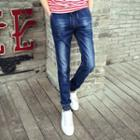 Washed Gather Cuff Jeans