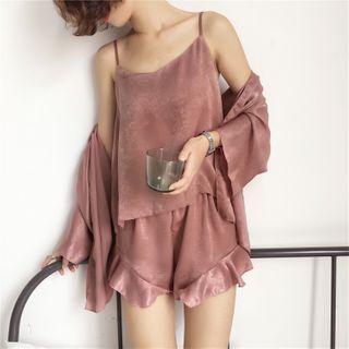 Loungewear Set: Camisole Top + Ruffle Trim Pants + Open-front Jacket