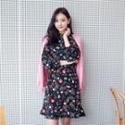 Floral Print Ruffle-hem Dress With Cord