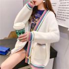 Color-panel Oversized Cardigan