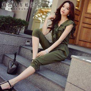 Ruffle Ruched Cropped Jumpsuit