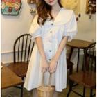 Lace-trim Plain Shirtdress White - One Size