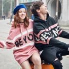 Couple Hooded Lettering Top / Lettering Hooded Pullover Dress