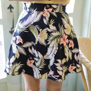 Floral Flared Mini Skirt