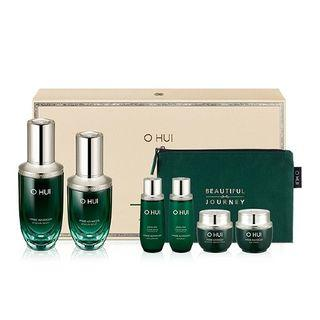 O Hui - Prime Advancer Ampoule Serum Set: 50ml + 20ml + Skin Softner 20ml + Emulsion 20ml + Ampoule Capture Cream 7ml + Eye Cream 5ml + Beautiful Journey Pouch 1pc 7pcs