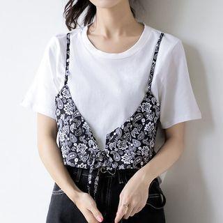 Mock Two-piece Short-sleeve Floral Vest Top White - M