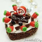 Sweet Santa Heart Chocolate Strawberry Cake Pearl Gold Necklace