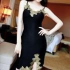 Lace Trim Strappy Sheath Dress