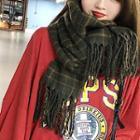 Plaid Fringed Neck Scarf As Shown In Figure - One Size