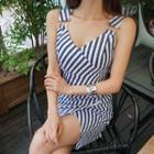 Wrapped Striped Sheath Dress