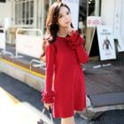 Long-sleeve Frilled Trim Knit Dress