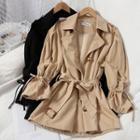 Tie-waist Drawstring-cuff Trench Jacket
