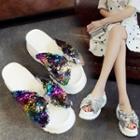 Sequined Bow Platform Wedge Slide Sandals