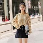 Striped Hooded Sweater Yellow - One Size