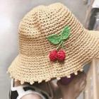 Foldable Cherry Straw Bucket Hat