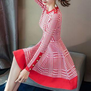Long-sleeve Pattern A-line Knit Dress
