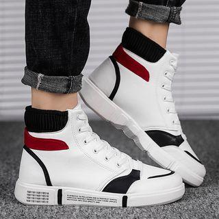 Color-panel High-top Platform Sneakers