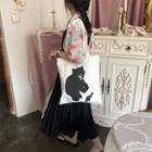 Bear Tote Bag White - One Size