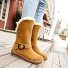 Fleece-trim Buckled Short Boots