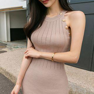 Sleeveless Perforated Knit Bodycon Dress