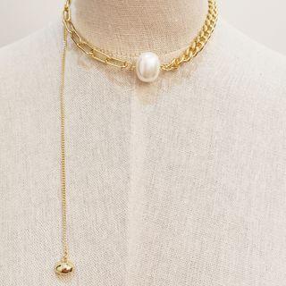 Asymmetric Faux Pearl Choker White Faux Pearl - Gold - One Size