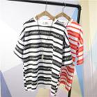 Lettering Stripe Elbow-sleeve T-shirt