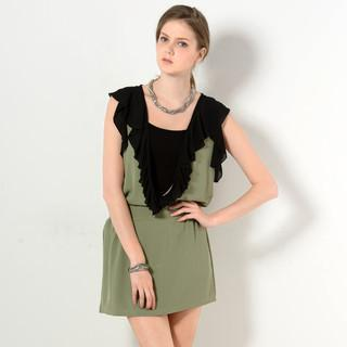 Sleeveless Frilled Deep V-neck Dress Green - One Size