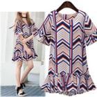 Chevron Frilled Short-sleeve Dress