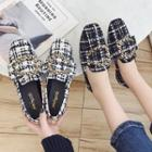 Buckled Plaid Fabric Loafers