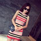 Sleeveless Striped Knit Mini / Midi Dress