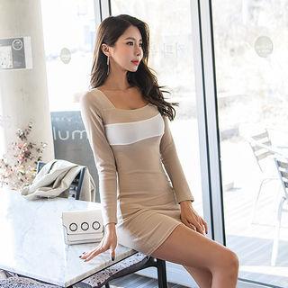 Square-neck Long-sleeve Mini Dress