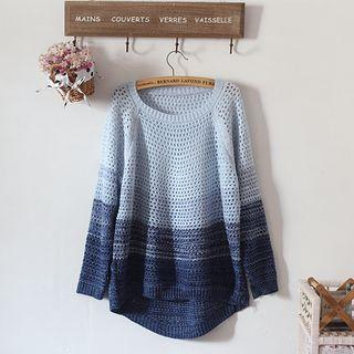 Gradient Open Knit Sweater
