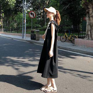 Lettering Sleeveless Hooded Dress