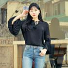 Tie-front Pleated-sleeve Top