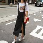 Slit Midi Suspender Skirt