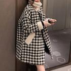 Houndstooth Medium Long Woolen Coat