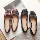 Plaid Square-toe Flats
