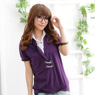 Inset-shirt V-neck Top