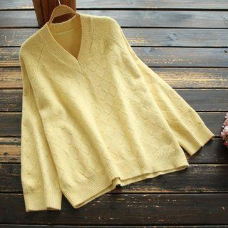 Plain V-neck Knit Top Yellow - One Size