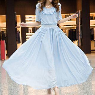 Frilled Plaid Chiffon Dress