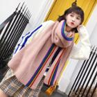 Rainbow Striped Knit Scarf As Shown In Figure - One Size