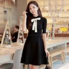 Mock-neck Elbow-sleeve Knit Dress