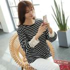 Lace-cuff Stripe Pullover