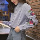Embroidered Long-sleeve Pinstriped Shirt