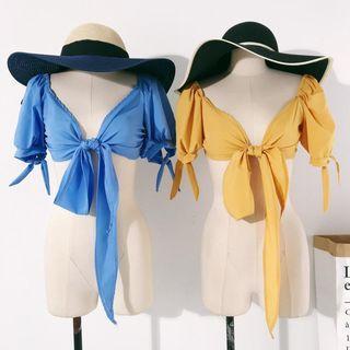 Short-sleeve Tie-front Crop Top